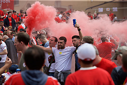 BASEL, SWITZERLAND - Wednesday, May 18, 2016: Liverpool supporters with smoke bombs in Basel ahead of the UEFA Europa League Final against Sevilla at St. Jakob-Park. (Pic by David Rawcliffe/Propaganda)