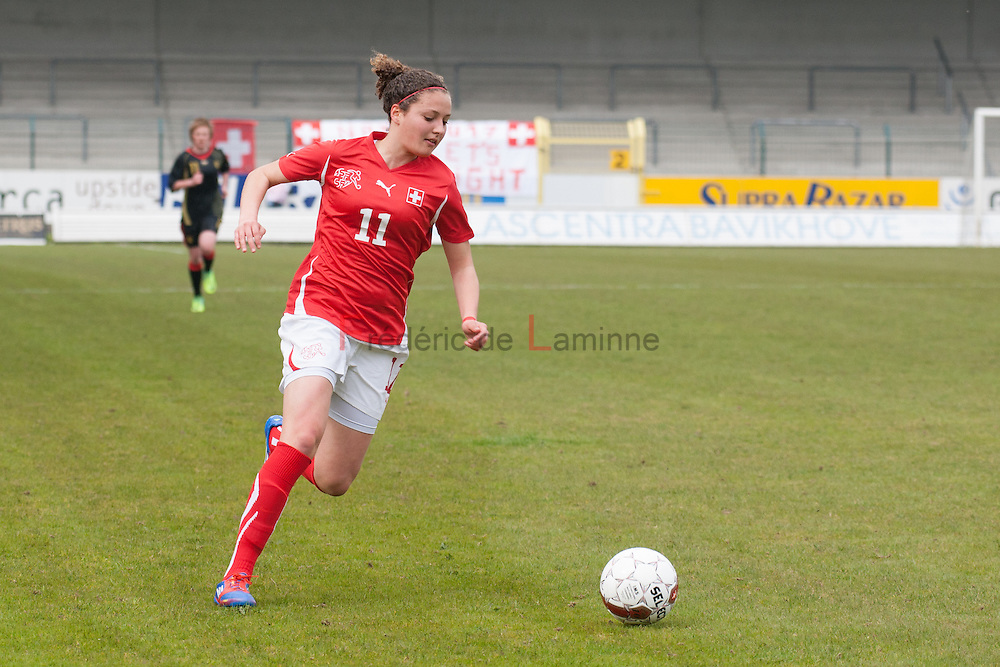 21120413 - HARELBEKE, BELGIUM : Switzerland's  Sabrina Ribeaud (11)  is pictured here during the Second qualifying round of U17 Women Championship between Switzerland and Belgium on Friday April 13th, 2012 in Harelbeke, Belgium.