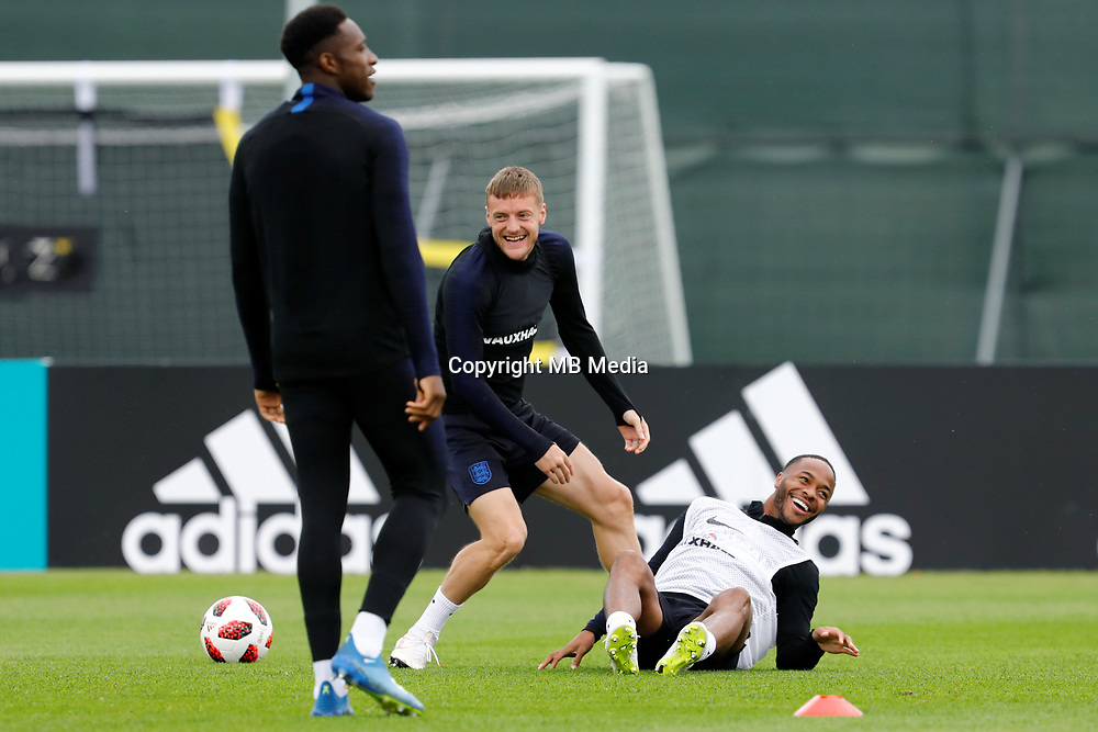 SAINT PETERSBURG, RUSSIA - JULY 10: Jamie Vardy (C) and Raheem Sterling (R) of England national team during an Englang national team training session ahead of the 2018 FIFA World Cup Russia Semi Final match against Croatia at Stadium Spartak Zelenogorsk on July 10, 2018 in Saint Petersburg, Russia. (MB Media)