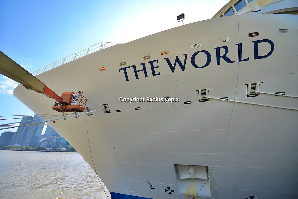 "SHANGHAI, CHINA - OCTOBER 28: (CHINA OUT) <br /> <br /> World's Largest Luxury Cruise Arrives In Shanghai<br /> <br /> One of the world's largest luxury cruise called The World arrives at Shanghai port on October 28, 2014 in Shanghai, China. One of the world's largest personal luxury cruise called ""The World"" contains 198 cabins and 165 luxurious apartment. <br /> ©Exclusivepix"