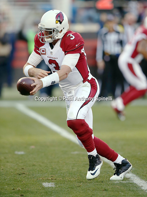 Arizona Cardinals quarterback Carson Palmer (3) hands off the ball on a running play during the 2015 week 12 regular season NFL football game against the San Francisco 49ers on Sunday, Nov. 29, 2015 in Santa Clara, Calif. The Cardinals won the game 19-13. (©Paul Anthony Spinelli)