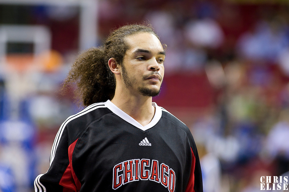 03 November 2008: Chicago Bulls center Joakim Noah is seen prior to the Orlando Magic victory 96-93 over the Chicago Bulls at the United Center, in Chicago, Illinois, USA.