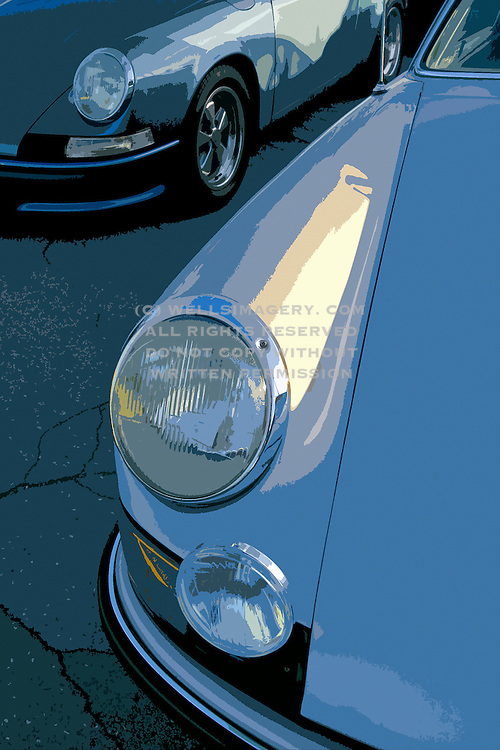 Image of two car fenders in Los Angeles, California, Porsche 911, detail of headlights, fender and hood, photo illustration