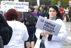 April 25, 2013. File Photo - Cibeles square to Puerta del Sol Square. Health public officers demonstration against cuts in spanish Health System, Madrid, Spain, November 18, 2012. Photo by Eduardo Dieguez / DyD Fotografos / i-images.