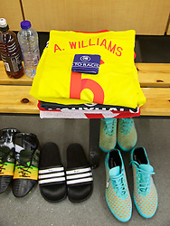 BRUSSELS, BELGIUM - Sunday, November 16, 2014: Wales' captain Ashley Williams' shirt and boots in the dressing room before the UEFA Euro 2016 Qualifying Group B game against Belgium at the King Baudouin [Heysel] Stadium. (Pic by David Rawcliffe/Propaganda)