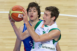 Nemanja Bjelica of Serbia vs Goran Dragic of Slovenia during basketball game between National basketball teams of Slovenia and Serbia in 7th place game of FIBA Europe Eurobasket Lithuania 2011, on September 17, 2011, in Arena Zalgirio, Kaunas, Lithuania. (Photo by Vid Ponikvar / Sportida)