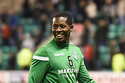 Marvin Bartley warms up for the Ladbrokes Scottish Premiership match between Hibernian and Rangers at Easter Road, Edinburgh, Scotland on 8 March 2019.