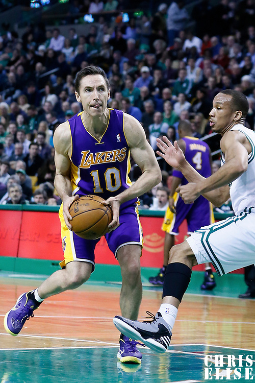 07 February 2013: Los Angeles Lakers point guard Steve Nash (10) drives past Boston Celtics point guard Avery Bradley (0) during the Boston Celtics 116-95 victory over the Los Angeles Lakers at the TD Garden, Boston, Massachusetts, USA.