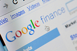 Detail of screenshot from website of Google finance website