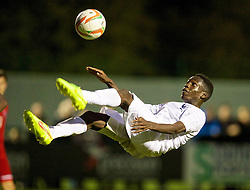 NEWPORT, WALES - Thursday, September 25, 2014: France's Aurelien Nguiamba in action against Wales during the Under-16's International Friendly match at Dragon Park. (Pic by David Rawcliffe/Propaganda)
