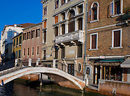 An old wine tasting bar on a canal in the Dorsoduro section of Venice, Italy