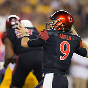15 September 2018: San Diego State Aztecs quarterback Ryan Agnew (9) drops back to pass in the second quarter. The Aztecs beat the Sun Devils 28-21 at SDCCU Stadium in San Diego, California.