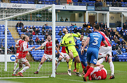 Chris Neal of Fleetwood Town can only watch as the ball hits the crossbar - Mandatory by-line: Joe Dent/JMP - 28/04/2018 - FOOTBALL - ABAX Stadium - Peterborough, England - Peterborough United v Fleetwood Town - Sky Bet League One