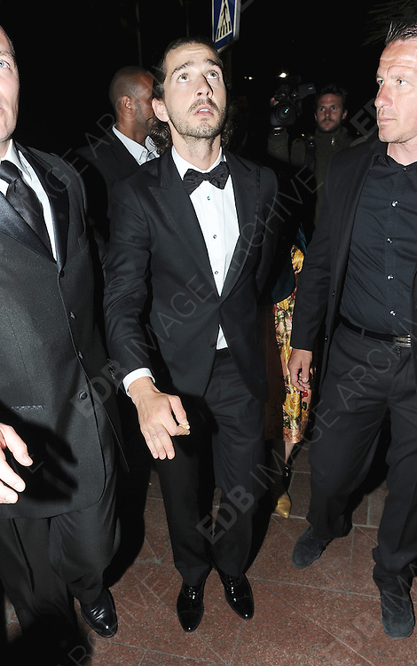 19.MAY.2012. CANNES<br /> <br /> SHIA LABEOUF WITH HIS MOTHER LEAVING AN AFTERPARTY AT BIOLI BEACH CLUB IN CANNES.<br /> <br /> BYLINE: EDBIMAGEARCHIVE.COM<br /> <br /> *THIS IMAGE IS STRICTLY FOR UK NEWSPAPERS AND MAGAZINES ONLY*<br /> *FOR WORLD WIDE SALES AND WEB USE PLEASE CONTACT EDBIMAGEARCHIVE - 0208 954 5968*