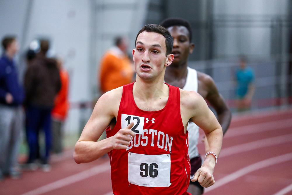 mens 3000 meters, BU, Brett Davidson<br /> Boston University Scarlet and White<br /> Indoor Track & Field, Bruce LeHane