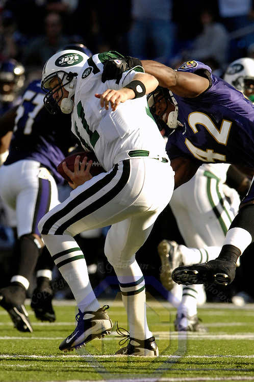 16 September 2007:  Baltimore Ravens defensive back Gerome Sapp (42) comes in on a blitz in the 3rd quarter against New York Jets quarterback Kellen Clemens (11) and sacks him for a 9-yard loss.  The Ravens defeated the Jets 20-13 at M&T Bank Stadium in Baltimore, Md. .