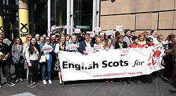 "SNP Spring Conference, Sunday 28th April 2019<br /> <br /> Pictured: The ""English Scots For Yes"" independence group are joined by MPs and MSPs including Keith Brown MSP for a photocall <br /> <br /> Alex Todd 