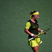 August 30, 2017 - New York, NY : Svetlana Kuznetsova, in yellow headband, competes against Marketa Vondrousova, not visible,  in the Grandstand on the third day of the U.S. Open, at the USTA Billie Jean King National Tennis Center in Queens, New York, on Wednesday. <br /> CREDIT : Karsten Moran for The New York Times