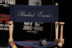 Atlanta, GA - April 18, 2012:  Rashad Evans chair before the final press conference for UFC 145 at the Park Tavern in Atlanta, Georgia.