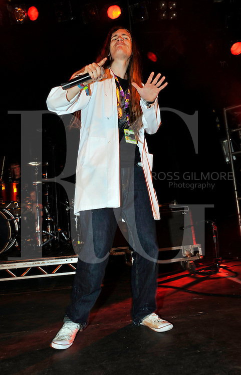 KINROSS, UNITED KINGDOM - JULY 10: David Brown lead singer of You And What Army perform at the Red Bull Bedroom Jam Futures Stage at T In The Park Festival at Balado on July 10, 2010 in Kinross, Scotland. (Photo by Ross Gilmore