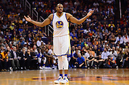 Feb 10, 2016; Phoenix, AZ, USA;  Golden State Warriors forward Andre Iguodala (9) reacts to a foul called against him in the game against the Phoenix Suns at Talking Stick Resort Arena. Mandatory Credit: Jennifer Stewart-USA TODAY Sports