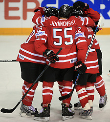 Team Canada (Ed Jovanovski) celebrates at play-off round quarterfinals ice-hockey game Norway vs Canada at IIHF WC 2008 in Halifax,  on May 14, 2008 in Metro Center, Halifax, Nova Scotia,Canada. (Photo by Vid Ponikvar / Sportal Images)