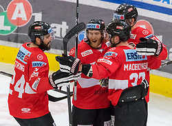12.04.2018, Tiroler Wasserkraft Arena, Innsbruck, AUT, Eishockey Testspiel, Österreich vs Italien, während dem Eishockey Testspiel Österreich vs Italien am Donnerstag, 12. April 2018 in Innsbruck, im Bild Torjubel Österreich nach dem 3:3 // during the International Icehockey Friendly match between Austria and Italy at the Tiroler Wasserkraft Arena in Innsbruck, Austria on 2018/04/12. EXPA Pictures © 2018, PhotoCredit: EXPA/ Jakob Gruber