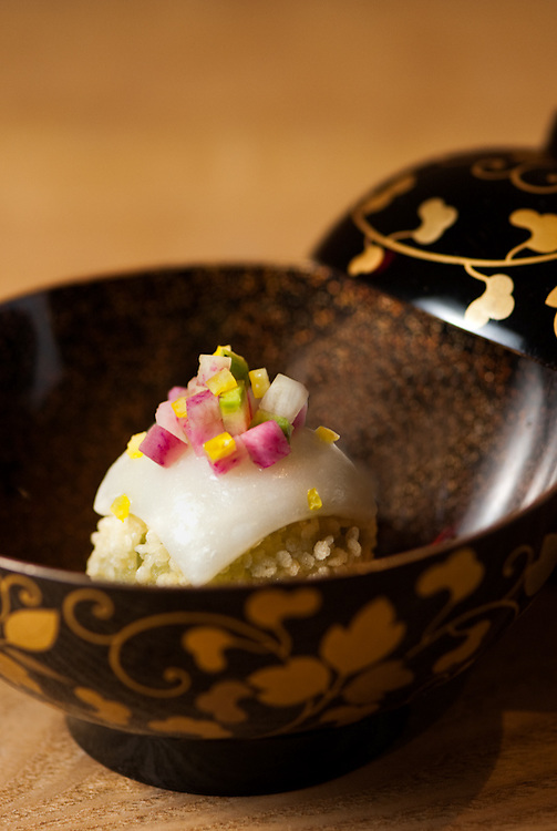 Clear Soup with Sticky Rice Ball, Mugwort, Rice Crackers