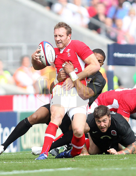 © Andrew Fosker / Seconds Left Images 2011 -  Wales' Morgan Stoddart breaks his left leg as he's tackled by England's Delon Armitage  England v Wales  - Investec International - 06/08/2011 - Twickenham Stadium  - London - All rights reserved..