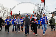 Chesterfield fans before the Johnstone's Paint Trophy Final match at Wembley Stadium, London<br /> Picture by David Horn/Focus Images Ltd +44 7545 970036<br /> 30/03/2014