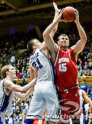 21 November 2009: Radford (45) Artsiom Parakhouski senior center battles inside with Duke Soph,. Forward #21 Miles Plumlee..Duke Rolls Past Radford 104-67 .Mandatory Credit: Mark Abbott / Southcreek Global