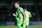 Norwich City forward Jordan Rhodes (11), on loan from Sheffield Wednesday, celebrates his hatrick during the EFL Cup match between Wycombe Wanderers and Norwich City at Adams Park, High Wycombe, England on 25 September 2018.