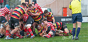 Carmarthen Quins' hooker Dom Booth celebrates scoring his sides first try of the afternoon.<br /> <br /> Photographer: Dan Minto<br /> <br /> Indigo Welsh Premiership Rugby - Round 12 - Llandovery RFC v Carmarthen Quins RFC - Saturday 28th December 2019 - Church Bank, Llandovery, South Wales, UK.<br /> <br /> World Copyright © Dan Minto Photography<br /> <br /> mail@danmintophotography.com <br /> www.danmintophotography.com