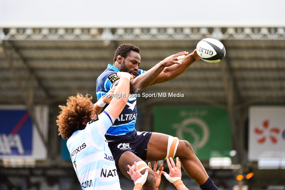 Fulgence OUEDRAOGO / Camille GERONDEAU  - 11.04.2015 - Racing Metro / Montpellier  - 22eme journee de Top 14 <br />