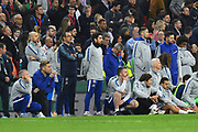 Chelsea manager Maurizio Sarri watches on during the penalty shoot out after the final finished 0-0 after extra time during the Carabao Cup Final match between Chelsea and Manchester City at Wembley Stadium, London, England on 24 February 2019.