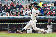 Joe Mauer #7 of the Minnesota Twins bats during a game against the Detroit Tigers on April 3, 2013 at Target Field in Minneapolis, Minnesota.  The Twins defeated the Tigers 3 to 2.  Photo: Ben Krause