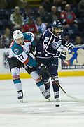 KELOWNA, CANADA - MARCH 04:  Rodney Southam #17 of the Kelowna Rockets, Tyler Sandhu #19 of the Tri-City Americans at the Kelowna Rockets game on March 04, 2017 at Prospera Place in Kelowna, British Columbia, Canada.  (Photo By Cindy Rogers/Nyasa Photography,  *** Local Caption ***