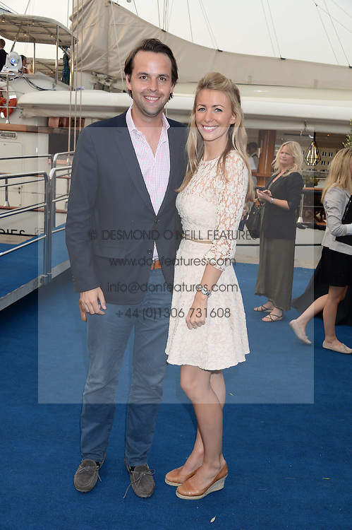 The Johnnie Walker Blue Label and David Gandy Drinks Reception aboard John Walker & Sons Voyager, St.Georges Stairs Tier, Butler's Wharf Pier, London, UK on 16th July 2013.<br /> Picture Shows:-Charlie Gilkes and Anneke Von Trotha Taylor.