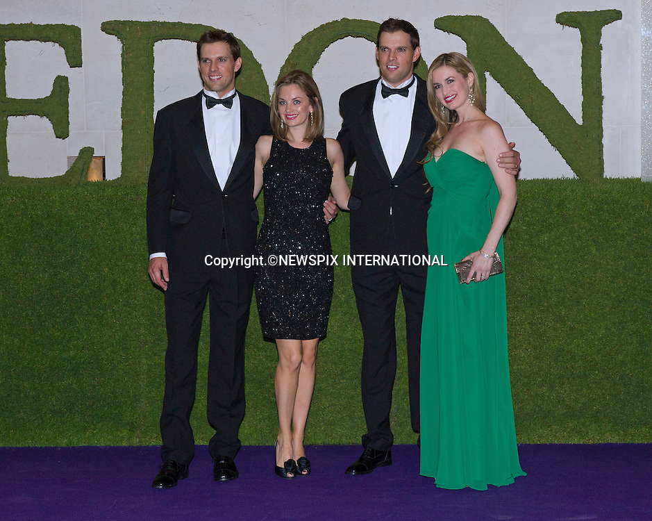 MICHAEL AND ROBERT BRYAN TOGETHER WITH PARTNERS<br /> attend the Wimbledon Winners Ball held at the Intercontinental Hotel, London<br /> Twins Mike and Bob, or the Bryan Brothers as they are known won the Wimbledon Men's Doubles title for the third time to complete a Golden Slam.<br /> Mandatory Credit Photo: &copy;Dias/NEWSPIX INTERNATIONAL<br /> <br /> **ALL FEES PAYABLE TO: &quot;NEWSPIX INTERNATIONAL&quot;**<br /> <br /> IMMEDIATE CONFIRMATION OF USAGE REQUIRED:<br /> Newspix International, 31 Chinnery Hill, Bishop's Stortford, ENGLAND CM23 3PS<br /> Tel:+441279 324672  ; Fax: +441279656877<br /> Mobile:  07775681153<br /> e-mail: info@newspixinternational.co.uk