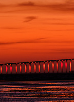 Sunshine Skyway Bridge at Dawn from Fort De Soto Park. Composite of 5 images taken with a Fuji X-H1 camera and 200 mm f/2 OIS lens (ISO 400, 200 mm, f/4, 1/8 sec). Raw images processed with Capture One Pro and AutoPano Giga Pro.