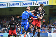 Gillingham defender Max Ehmer (5) and Coventry City defender Lewis Page during the EFL Sky Bet League 1 match between Gillingham and Coventry City at the MEMS Priestfield Stadium, Gillingham, England on 24 September 2016. Photo by Martin Cole.