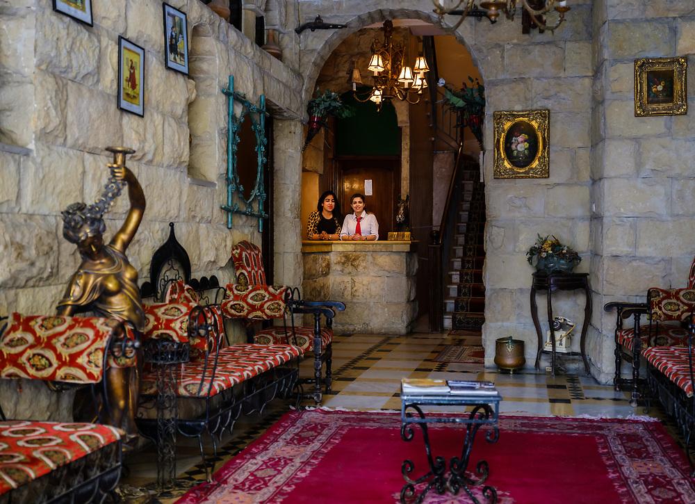 CASABLANCA, MOROCCO - CIRCA APRIL 2017: Lobby of the Transatlantique Hotel in Casablanca