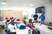 World Sailing Emerging Nations Program - Boca Chica Sailing Club, Santo Domingo 08/19/2017 - DAY 1- Trainers Rafael Loreto from Uruguay (left) and Tyler Rice from the US Virgin Islands introduce an exercise during the training course