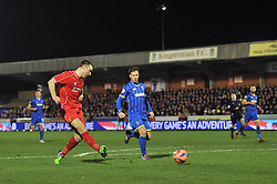 Liverpool's Rickie Lambert takes a shot at goal. - Photo mandatory by-line: Dougie Allward/JMP - Mobile: 07966 386802 - 05/01/2015 - SPORT - football - London - Cherry Red Records Stadium - AFC Wimbledon v Liverpool - FA Cup - Third Round