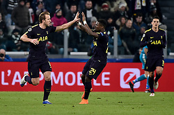 February 13, 2018 - Turin, Italy - Harry Kane of Tottenham celebrates scoring first goal during the UEFA Champions League Round of 16 match between Juventus and Tottenham Hotspur at the Juventus Stadium, Turin, Italy on 13 February 2018. (Credit Image: © Giuseppe Maffia/NurPhoto via ZUMA Press)