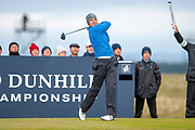 Andrea Pavan hits his drive on the 16th hole during the final round of the Alfred Dunhill Links Championships 2018 at West Sands, St Andrews, Scotland on 7 October 2018