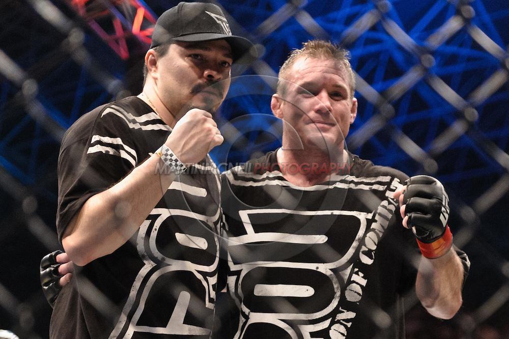 "ABU DHABI, UNITED ARAB EMIRATES, APRIL 10, 2010: Matt Hughes (right) and his cornerman pose for photograpgs after his fight at ""UFC 112: Invincible"" inside Ferari World, Abu Dhabi on April 10, 2010"