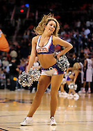Mar. 13, 2011; Phoenix, AZ, USA; A Phoenix Suns dancer performs while the Phoenix Suns play against the Orlando Magic at the US Airways Center. The Magic defeated the Suns 111-88. Mandatory Credit: Jennifer Stewart-US PRESSWIRE.