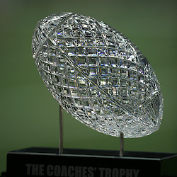 07 January 2008: A close uo of the BCS coaches trophy crystal football during the 2008 All State BCS Championship game a 38-24 win by the LSU Tigers over the Ohio State Buckeyes at the Louisiana Superdome in New Orleans, Louisiana.
