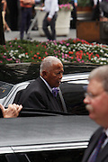 Former Mayor David Dinkins arrives at the Walter Cronkite funeral at The St. Bartholomew Church on July 23, 2009 in New York City